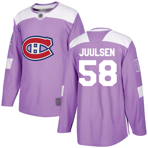 Men's Noah Juulsen Authentic Purple Jersey: Hockey #58 Montreal Canadiens Fights Cancer Practice