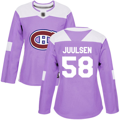 Women's Noah Juulsen Authentic Purple Jersey: Hockey #58 Montreal Canadiens Fights Cancer Practice