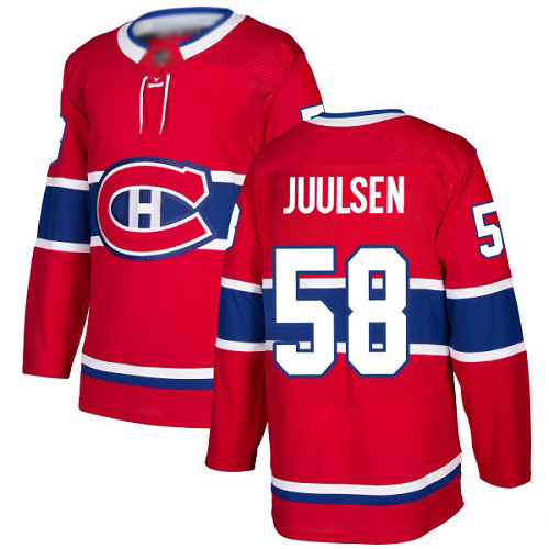 Men's Noah Juulsen Premier Red Home Jersey: Hockey #58 Montreal Canadiens