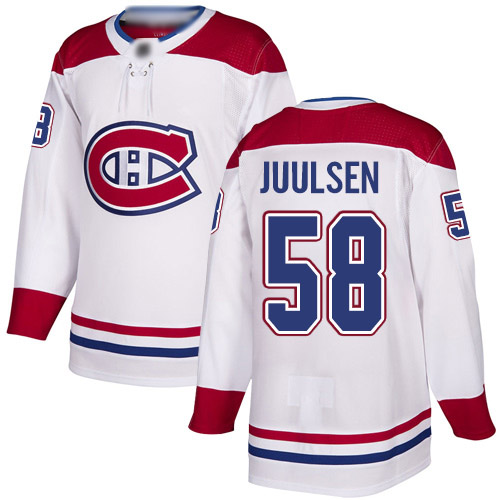 Men's Noah Juulsen Authentic White Away Jersey: Hockey #58 Montreal Canadiens