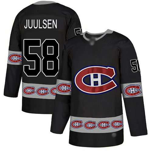 Men's Noah Juulsen Authentic Black Jersey: Hockey #58 Montreal Canadiens Team Logo Fashion