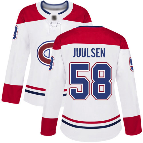 Women's Noah Juulsen Authentic White Away Jersey: Hockey #58 Montreal Canadiens