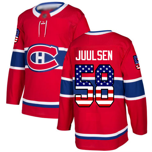 Men's Noah Juulsen Authentic Red Jersey: Hockey #58 Montreal Canadiens USA Flag Fashion