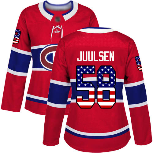 Women's Noah Juulsen Authentic Red Jersey: Hockey #58 Montreal Canadiens USA Flag Fashion