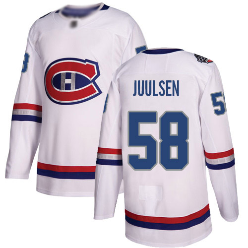 Men's Noah Juulsen Authentic White Jersey: Hockey #58 Montreal Canadiens 2017 100 Classic