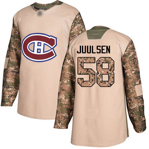 Youth Noah Juulsen Authentic Camo Jersey: Hockey #58 Montreal Canadiens Veterans Day Practice