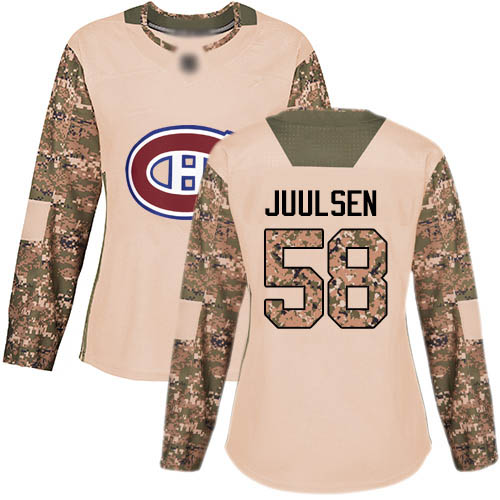 Women's Noah Juulsen Authentic Camo Jersey: Hockey #58 Montreal Canadiens Veterans Day Practice