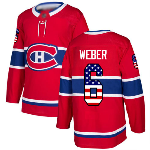 Adidas Youth Shea Weber Authentic Red Jersey: NHL #6 Montreal Canadiens USA Flag Fashion