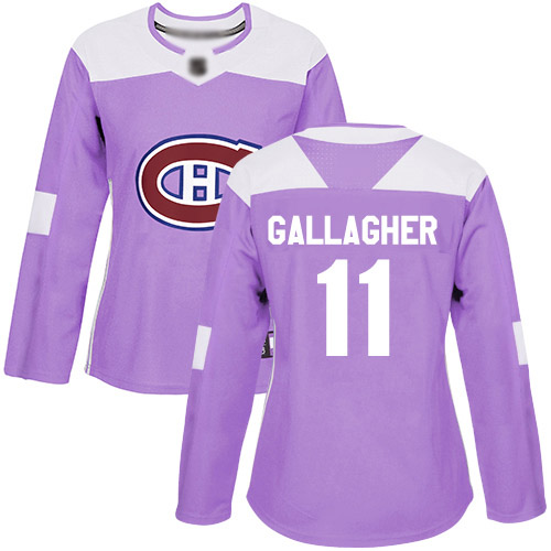Adidas Women's Brendan Gallagher Authentic Purple Jersey: NHL #11 Montreal Canadiens Fights Cancer Practice
