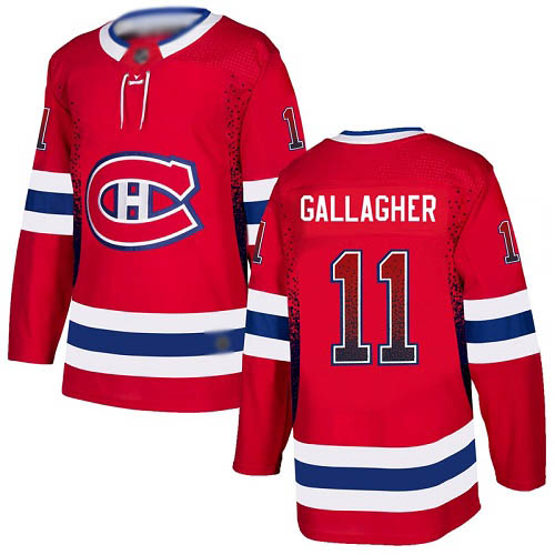 Adidas Men's Brendan Gallagher Authentic Red Jersey: NHL #11 Montreal Canadiens Drift Fashion
