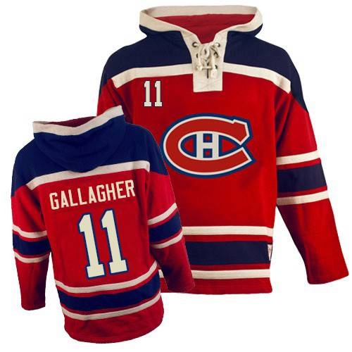 Old Time Hockey Men's Brendan Gallagher Authentic Red Jersey: NHL #11 Montreal Canadiens Sawyer Hooded Sweatshirt