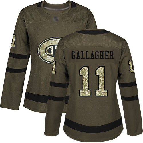 Adidas Women's Brendan Gallagher Authentic Green Jersey: NHL #11 Montreal Canadiens Salute to Service
