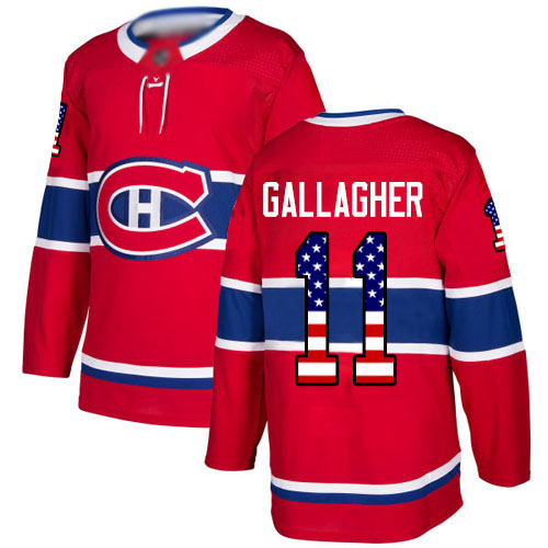 Adidas Men's Brendan Gallagher Authentic Red Jersey: NHL #11 Montreal Canadiens USA Flag Fashion