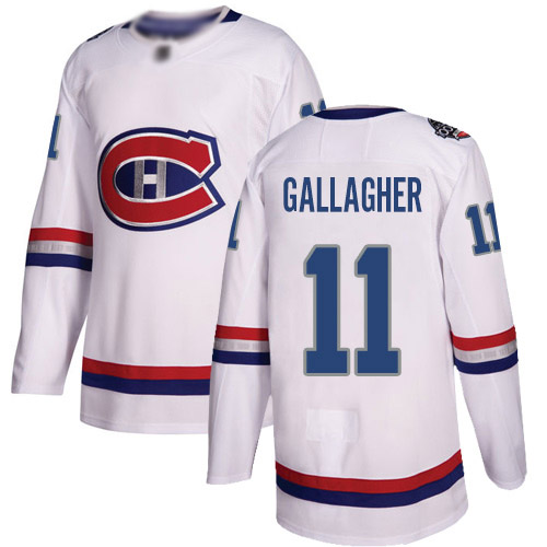 Adidas Youth Brendan Gallagher Authentic White Jersey: NHL #11 Montreal Canadiens 2017 100 Classic