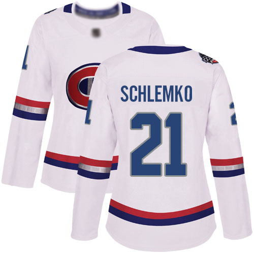 Adidas Women's David Schlemko Authentic White Jersey: NHL #21 Montreal Canadiens 2017 100 Classic