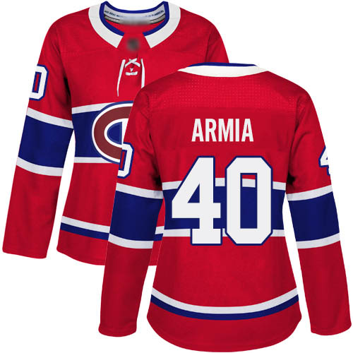 Adidas Women's Joel Armia Authentic Red Home Jersey: NHL #40 Montreal Canadiens