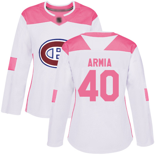 Adidas Women's Joel Armia Authentic White/Pink Jersey: NHL #40 Montreal Canadiens Fashion