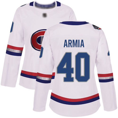 Adidas Women's Joel Armia Authentic White Jersey: NHL #40 Montreal Canadiens 2017 100 Classic
