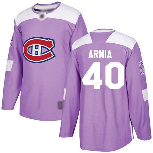 Adidas Youth Joel Armia Authentic Purple Jersey: NHL #40 Montreal Canadiens Fights Cancer Practice