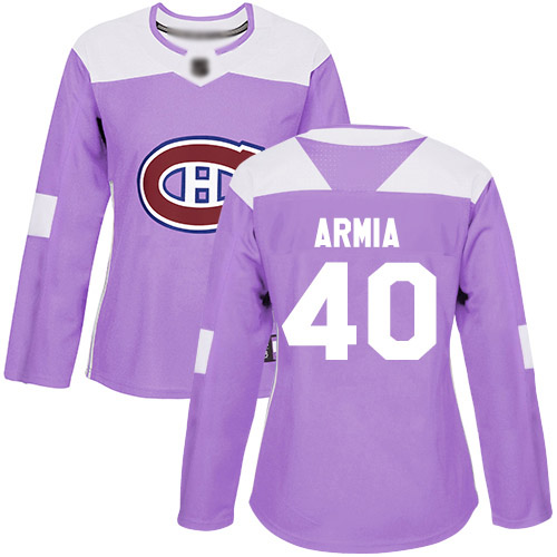 Adidas Women's Joel Armia Authentic Purple Jersey: NHL #40 Montreal Canadiens Fights Cancer Practice