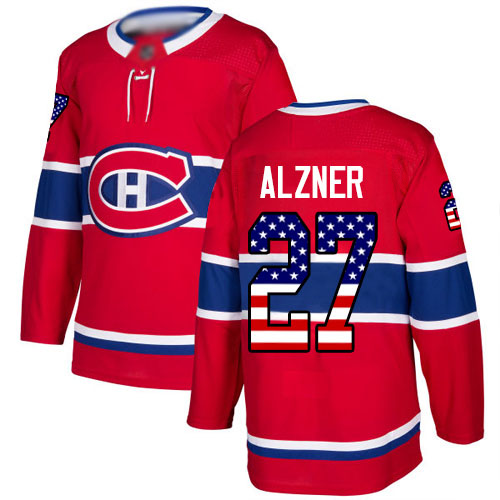 Adidas Youth Karl Alzner Authentic Red Jersey: NHL #27 Montreal Canadiens USA Flag Fashion