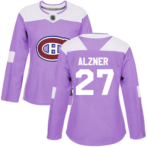 Adidas Women's Karl Alzner Authentic Purple Jersey: NHL #27 Montreal Canadiens Fights Cancer Practice