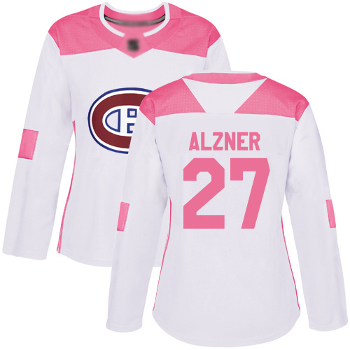 Adidas Women's Karl Alzner Authentic White/Pink Jersey: NHL #27 Montreal Canadiens Fashion