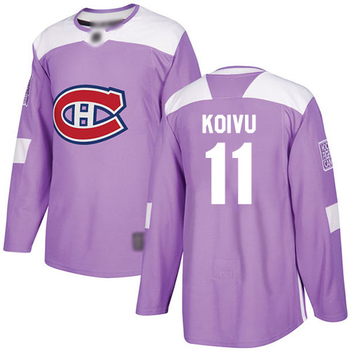 Men's Saku Koivu Authentic Purple Jersey: Hockey #11 Montreal Canadiens Fights Cancer Practice