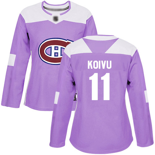 Women's Saku Koivu Authentic Purple Jersey: Hockey #11 Montreal Canadiens Fights Cancer Practice