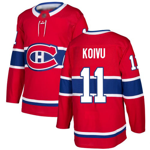 Men's Saku Koivu Authentic Red Home Jersey: Hockey #11 Montreal Canadiens