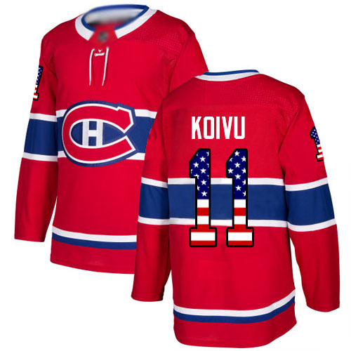 Men's Saku Koivu Authentic Red Jersey: Hockey #11 Montreal Canadiens USA Flag Fashion