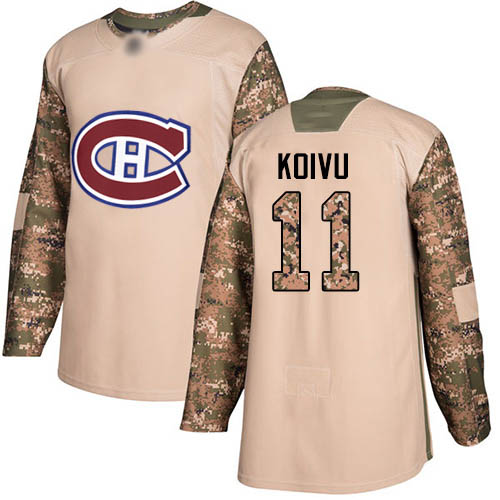 Youth Saku Koivu Authentic Camo Jersey: Hockey #11 Montreal Canadiens Veterans Day Practice